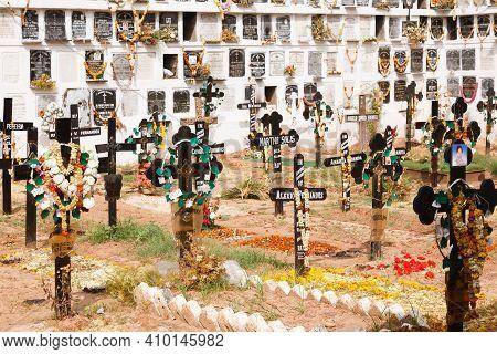 Panaji, India - November 07, 2011. Graveyard, Cemetery, Burial Ground With Columbarium Wall With Nic