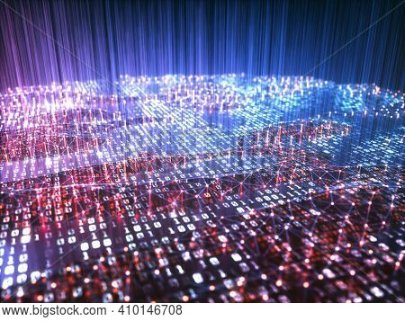 Abstract Background Of Binary Codes. Technology Concept 3d Illustration.