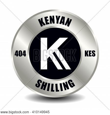 Kenya Money Icon Isolated On Round Silver Coin. Vector Sign Of Currency Symbol With International Is