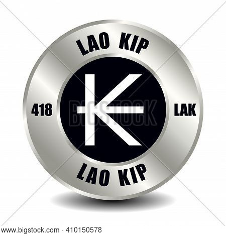 Laos Money Icon Isolated On Round Silver Coin. Vector Sign Of Currency Symbol With International Iso
