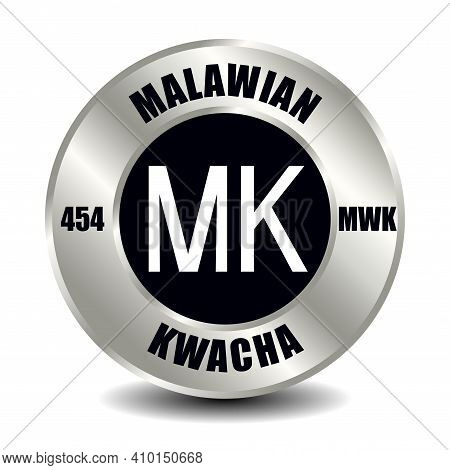 Malawi Money Icon Isolated On Round Silver Coin. Vector Sign Of Currency Symbol With International I