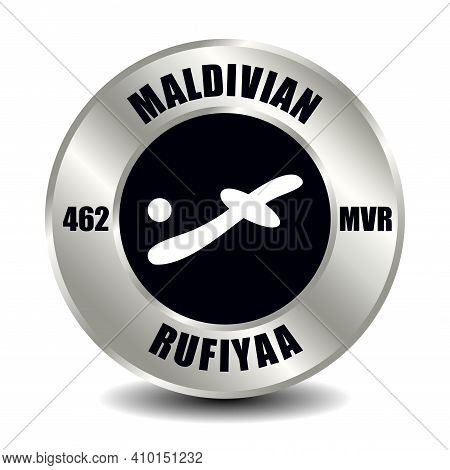 Maldives Money Icon Isolated On Round Silver Coin. Vector Sign Of Currency Symbol With International