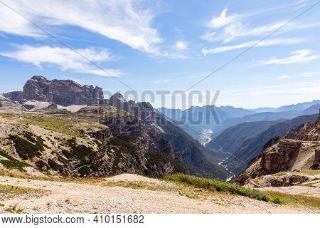 Nice View Of The Valley With The Lake Misurina (lago Di Misurina) National Park Tre Cime Di Lavaredo