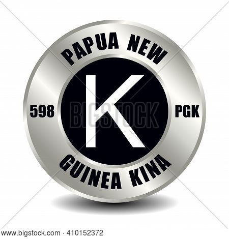 Papua New Guinea Money Icon Isolated On Round Silver Coin. Vector Sign Of Currency Symbol With Inter