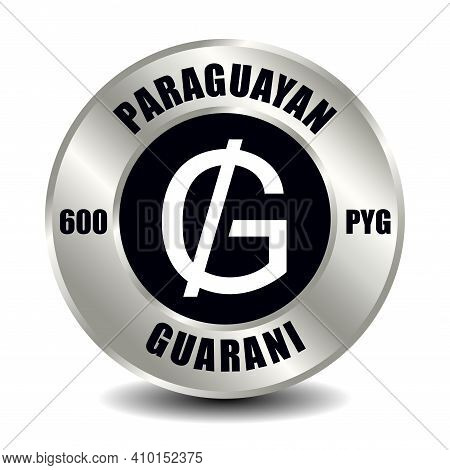 Paraguay Money Icon Isolated On Round Silver Coin. Vector Sign Of Currency Symbol With International
