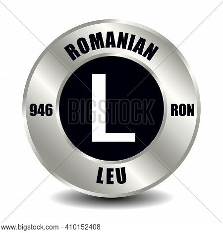 Romania Money Icon Isolated On Round Silver Coin. Vector Sign Of Currency Symbol With International