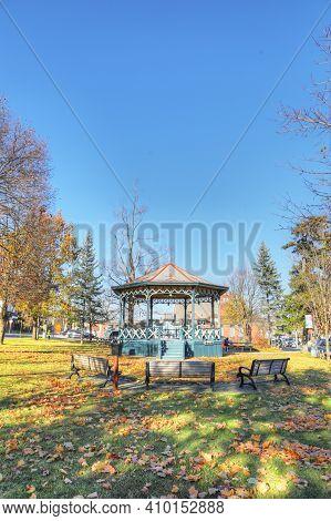Elmira, Ontario/canada - October 20, 2020:  A Vertical Of Gore Park In Elmira, Ontario, Canada With