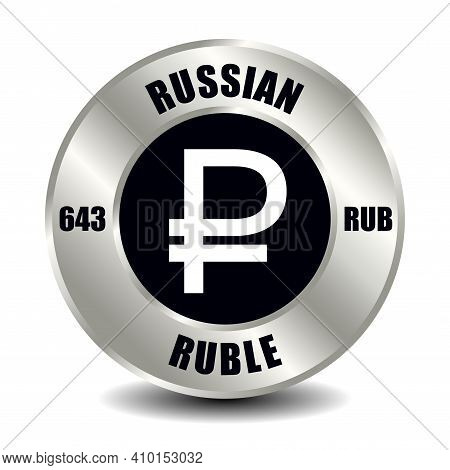Russia, Russian Federation Money Icon Isolated On Round Silver Coin. Vector Sign Of Currency Symbol