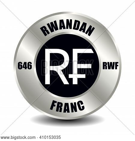 Rwanda Money Icon Isolated On Round Silver Coin. Vector Sign Of Currency Symbol With International I