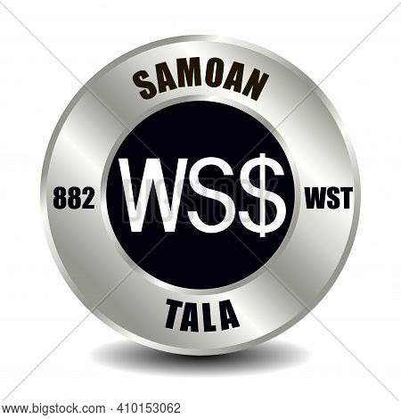 Samoa Money Icon Isolated On Round Silver Coin. Vector Sign Of Currency Symbol With International Is