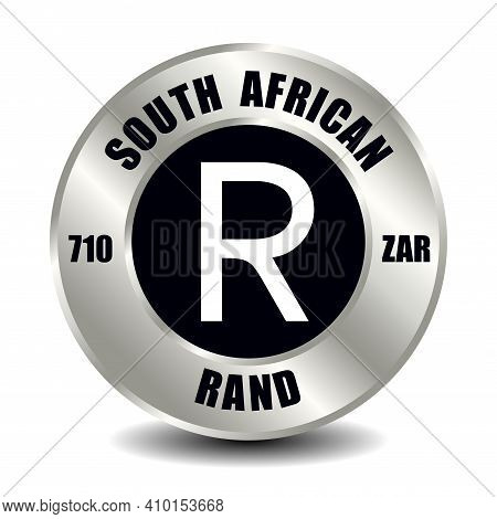 South Africa Money Icon Isolated On Round Silver Coin. Vector Sign Of Currency Symbol With Internati