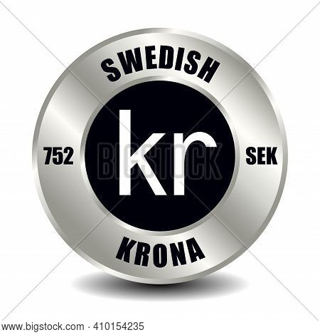 Sweden Money Icon Isolated On Round Silver Coin. Vector Sign Of Currency Symbol With International I