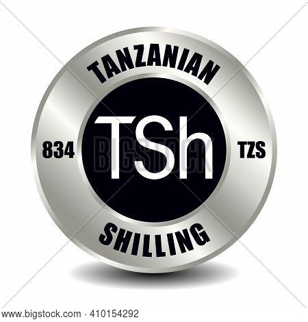 Tanzania Money Icon Isolated On Round Silver Coin. Vector Sign Of Currency Symbol With International