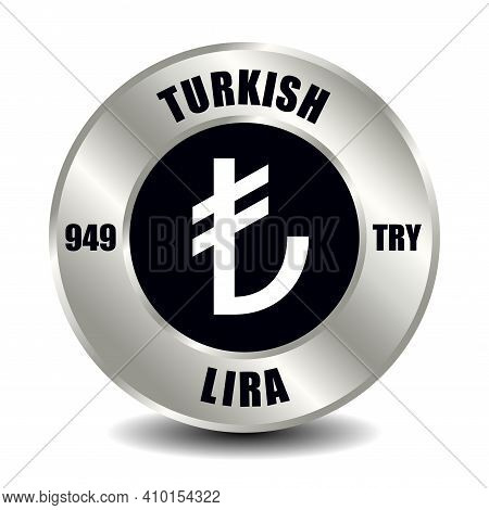 Turkey Money Icon Isolated On Round Silver Coin. Vector Sign Of Currency Symbol With International I