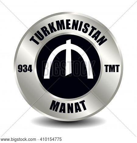 Turkmenistan Money Icon Isolated On Round Silver Coin. Vector Sign Of Currency Symbol With Internati