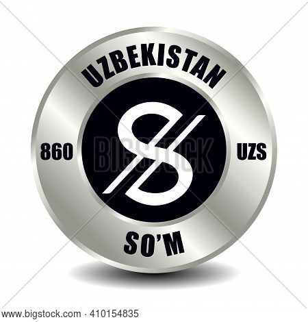 Uzbekistan Money Icon Isolated On Round Silver Coin. Vector Sign Of Currency Symbol With Internation