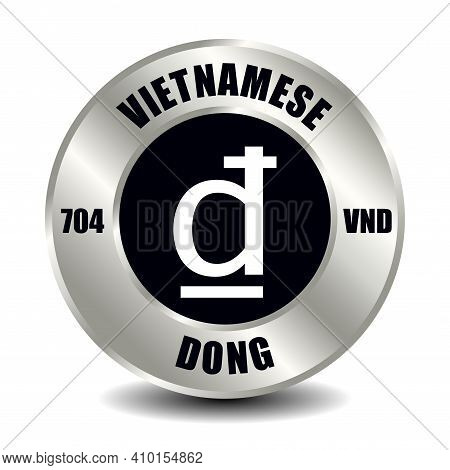 Vietnam Money Icon Isolated On Round Silver Coin. Vector Sign Of Currency Symbol With International