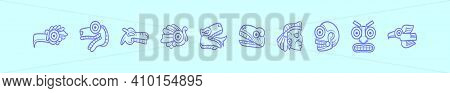 Set Of Quetzalcoatl Cartoon Icon Design Template With Various Models. Modern Vector Illustration Iso