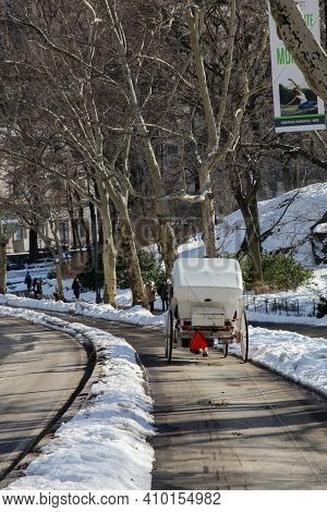 NEW YORK - FEBRUARY 18, 2015: Winter day scenery with horse carriage in Central Park in New York City