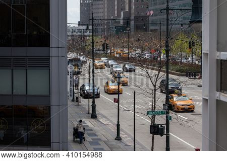 NEW YORK, NY, USA - APRIL 22, 2015: New York City  street   on Lower Manhattan near Chamber St and West Street.