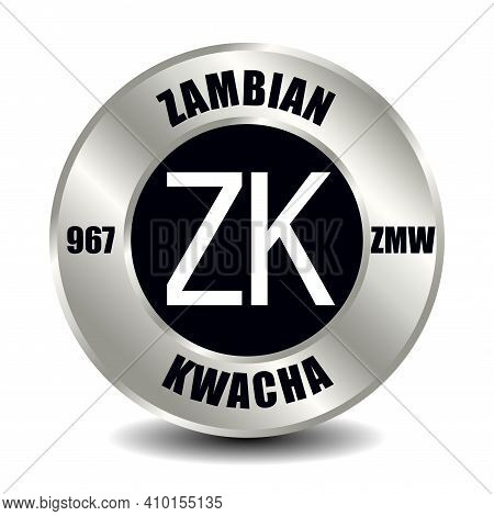 Zambia Money Icon Isolated On Round Silver Coin. Vector Sign Of Currency Symbol With International I