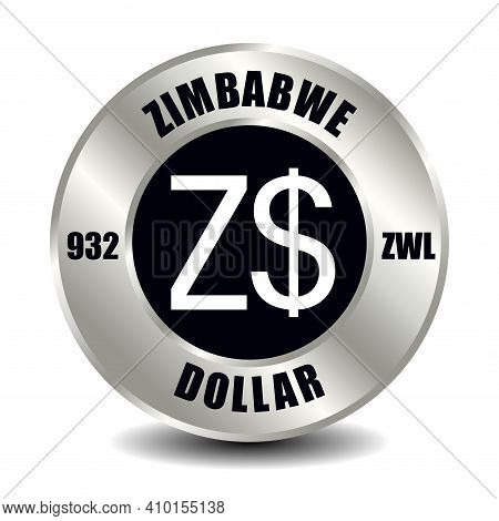 Zimbabwe Money Icon Isolated On Round Silver Coin. Vector Sign Of Currency Symbol With International