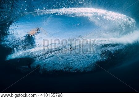 Wave With Surfer Under Water. Surfer Ride On Wave, View From Underwater
