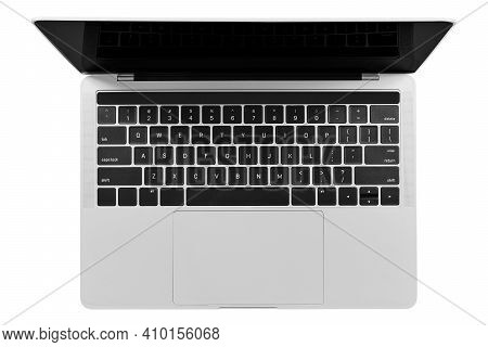 Top View Of Isolated Modern Generic Silver Laptop With A Blank Screen . High Resolution Image. Png F