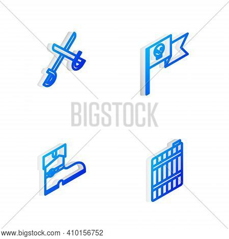 Set Isometric Line Pirate Flag With Skull, Crossed Pirate Swords, Leather Boots And Wooden Barrel Ic