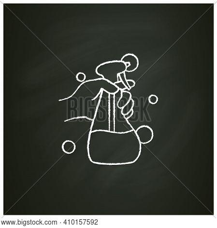 Cleaning Sprayer Chalk Icon.detergent, Cleanser, Sanitizer.housekeeper Hand With Bottle Pictogram.we