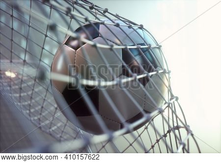 Soccer Ball, Scoring The Goal And Moving The Net. 3d Illustration.