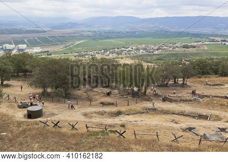 Sevastopol, Crimea, Russia - July 28, 2020: Exposition Of Defensive Fortifications And Captured Equi