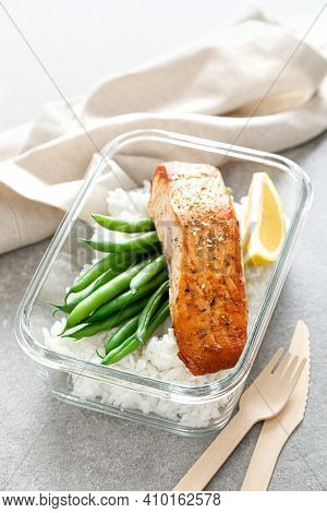 Lunch Box Containers With Grilled Salmon Fish Fillet, Rice And Green Beans