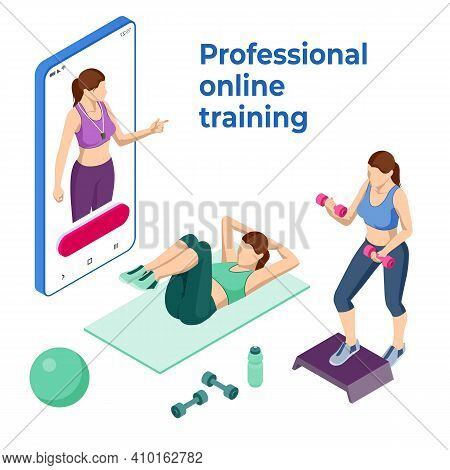 Isometric Online Fitness And Training On Smartphone. Distant Training With Personal Trainer. Young F