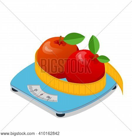 Isometric Two Apples Lie On A Scale And Measurement Tape. Healthy Food And Diet Planning Concept. He