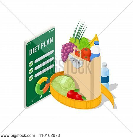 Isometric Healthy Food And Diet Planning On Smartphone. Healthy Eating, Personal Diet Or Nutrition P