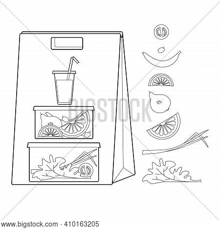 Craft Bag With A Business Lunch. Vegetarian Food. Fruits And Vegetables In Containers. Line Drawing