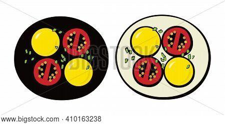 Potatoes, Tomatoes And Onions. Vegetarian Dish. Pop Art. Retro Style. Illustration