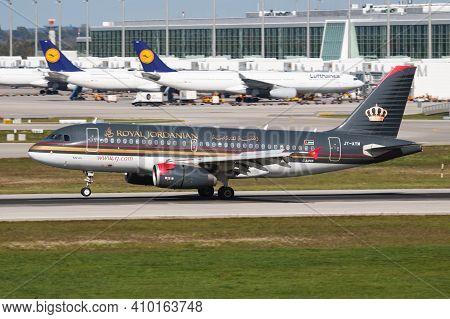 Munich, Germany - October 4, 2017: Royal Jordanian Airlines Airbus A319 Jy-aym Passenger Plane Arriv