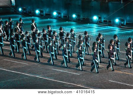 MOSCOW - SEPTEMBER 4: Orchestra of the Royal Guard of His Majesty and ceremonial platoon Norway at Military Music Festival Spasskaya Tower on September 4, 2011 in Moscow, Russia.