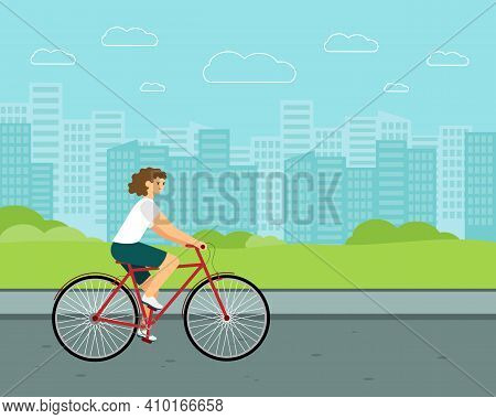 Woman City Bicycle. White Rider On Bike. Flat Vector Character