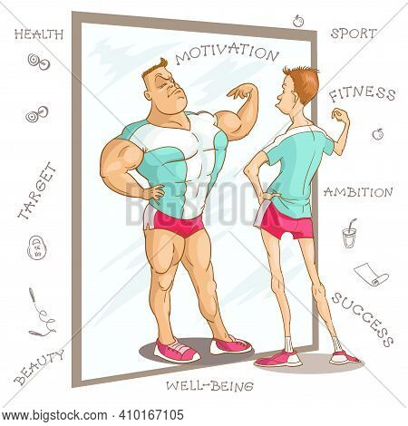 Vector Caricature Illustration. Cartoon Funny Man In A Fitness Class Looks At His Reflection In The