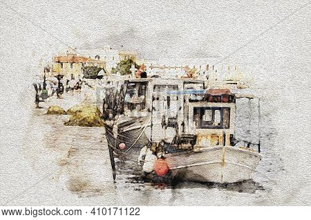 Watercolor Fishing Boats With Their Nets Moored In The Port Of The City Of Zakynthos Which Is Also T
