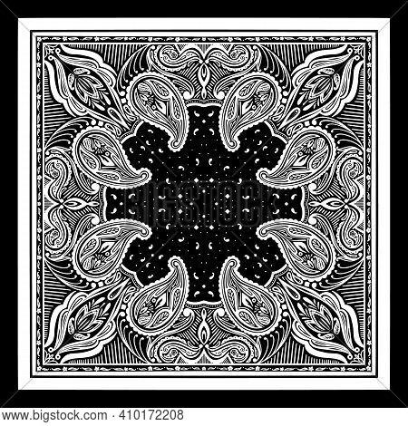 Vector Pattern Based On Square Ornament Paisley Bandana Print For Boys And Girls. Best Motive For Pr