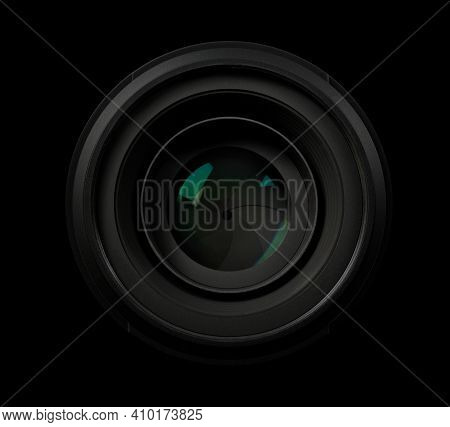 Top View Of A Professional Optical Lens For Modern Dslr Cameras Isolated On A Black Background. High
