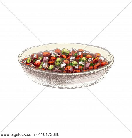 Bowl With Fresh Pico De Gallo. Vector Vintage Hatching Color Illustration. Isolated On White Backgro
