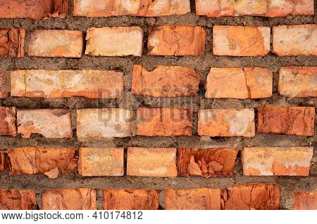 Empty Old Brick Wall Texture. Painted Problem Wall Surfaces. Luxurious Wide Brick. Grunge Red Stone