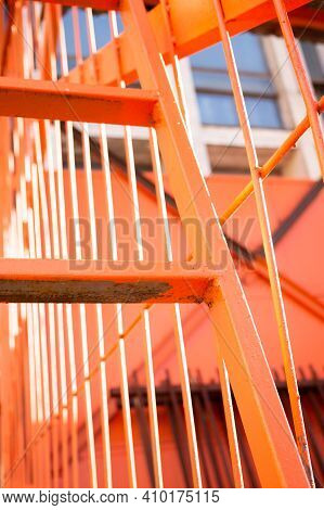Iron Staircase In Orange. Industrial.steel, Step, Structure, Style, Texture, Up, Urban, Vintage, Wal