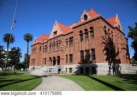 Santa Ana, California - USA - February 25, 2021: Orange County California Courthouse, built in 1900. This is the oldest existing Court House in Southern California. Editorial Use Only.