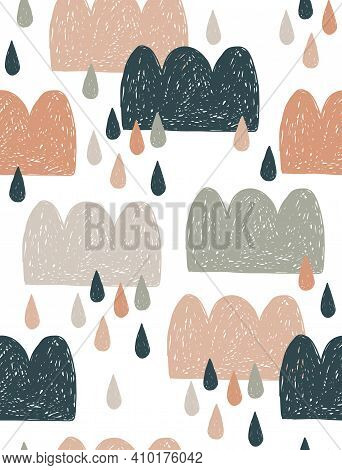 Cute Hand Drawn Baby Shower Vector Semaless Pattern With Blue, Brown And Beige Clouds And Rain Drops